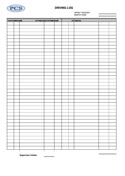 Driving Log Blank Printable pdf