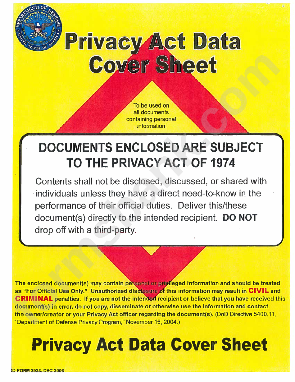 privacy act cover page printable pdf download