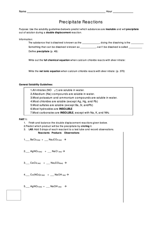 Precipitate Reactions Worksheet Printable Pdf Download