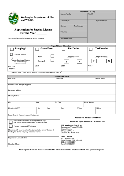 Washington Department Of Fish And Wildlife Application For Special License