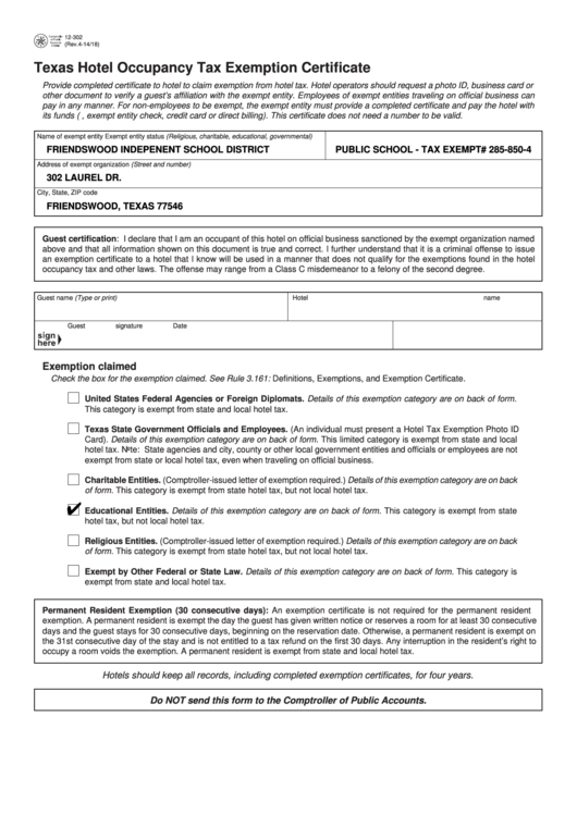Top 7 Texas Form 12-302 Templates free to download in PDF format