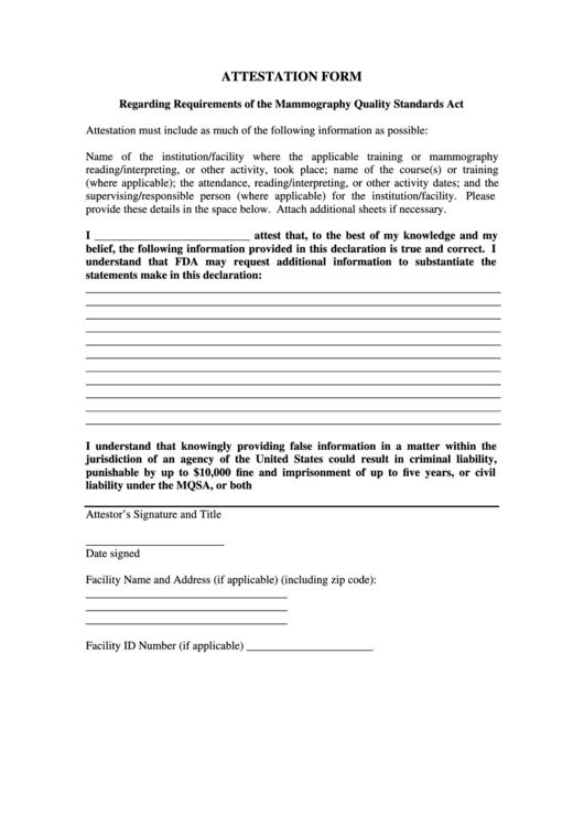 Attestation Form Nc Radiation Protection Printable Pdf