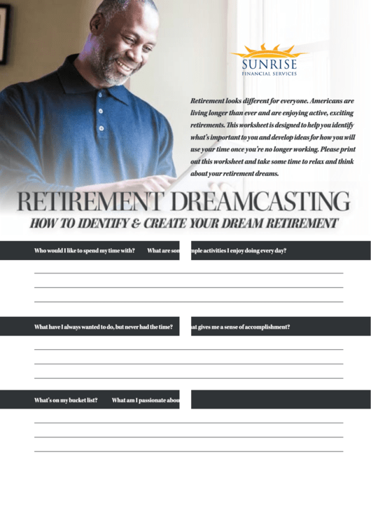 Retirement Dreamcasting Bucket List And Budget Worksheet Printable