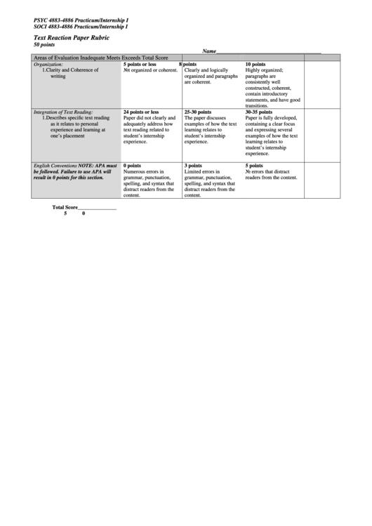 internship reaction paper
