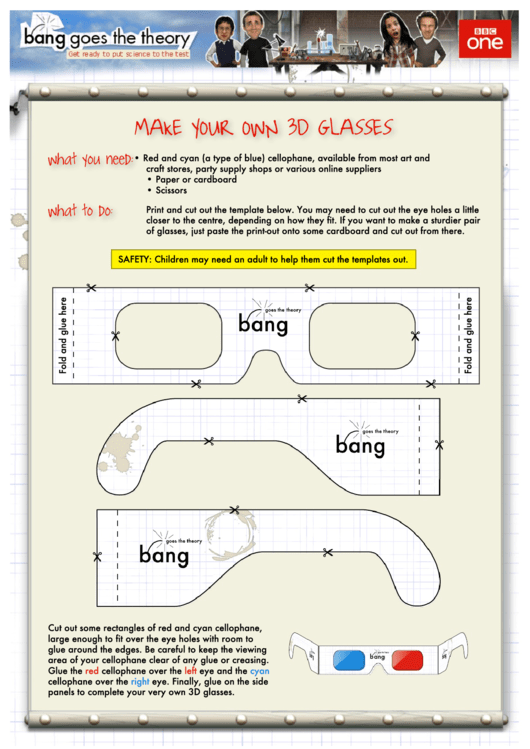 3d Glasses Template printable pdf download