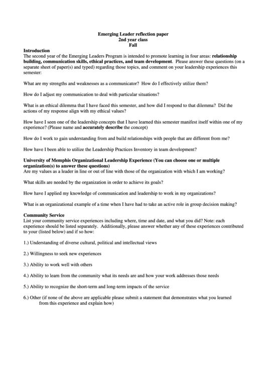 Emerging Leader Reflection Paper