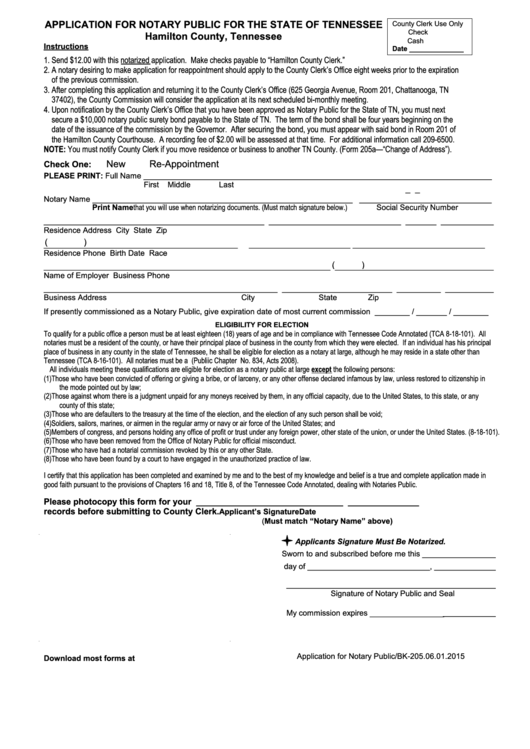 Application For Notary Public - Tennessee Secretary Of State