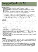 Engineering Statistics Review For Exam