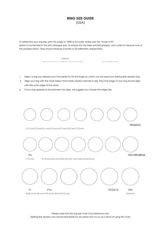 Usa Ring Size Guide Printable Pdf Download