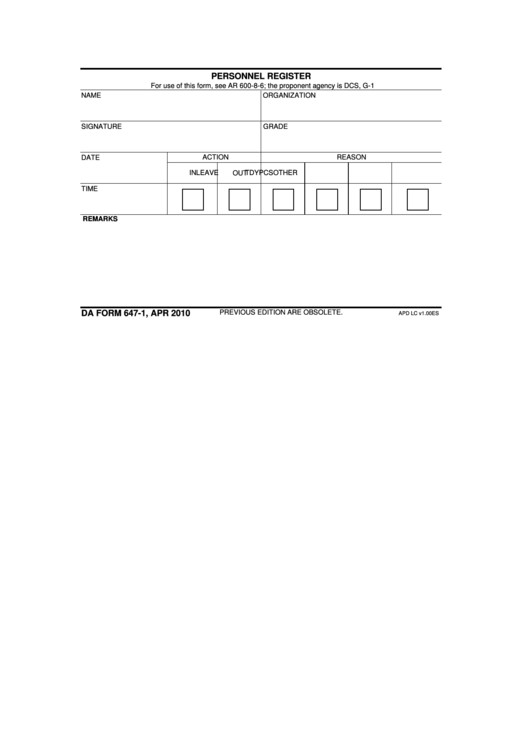 Fillable Da Form 647-1 - Personnel Register Form Printable pdf