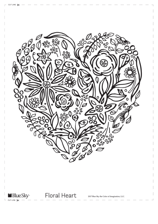 Floral Heart Coloring Sheet Printable pdf