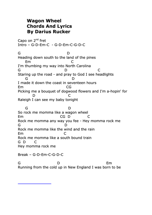 Wagon Wheel Chords And Lyrics By Darius Rucker printable pdf download