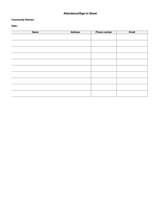 Attendance/sign-in Sheet Template
