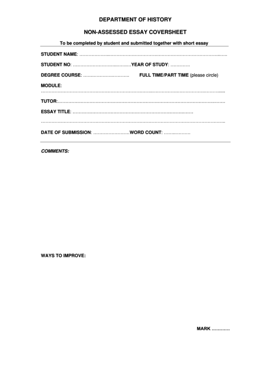 Department Of History Non-assessed Essay Coversheet