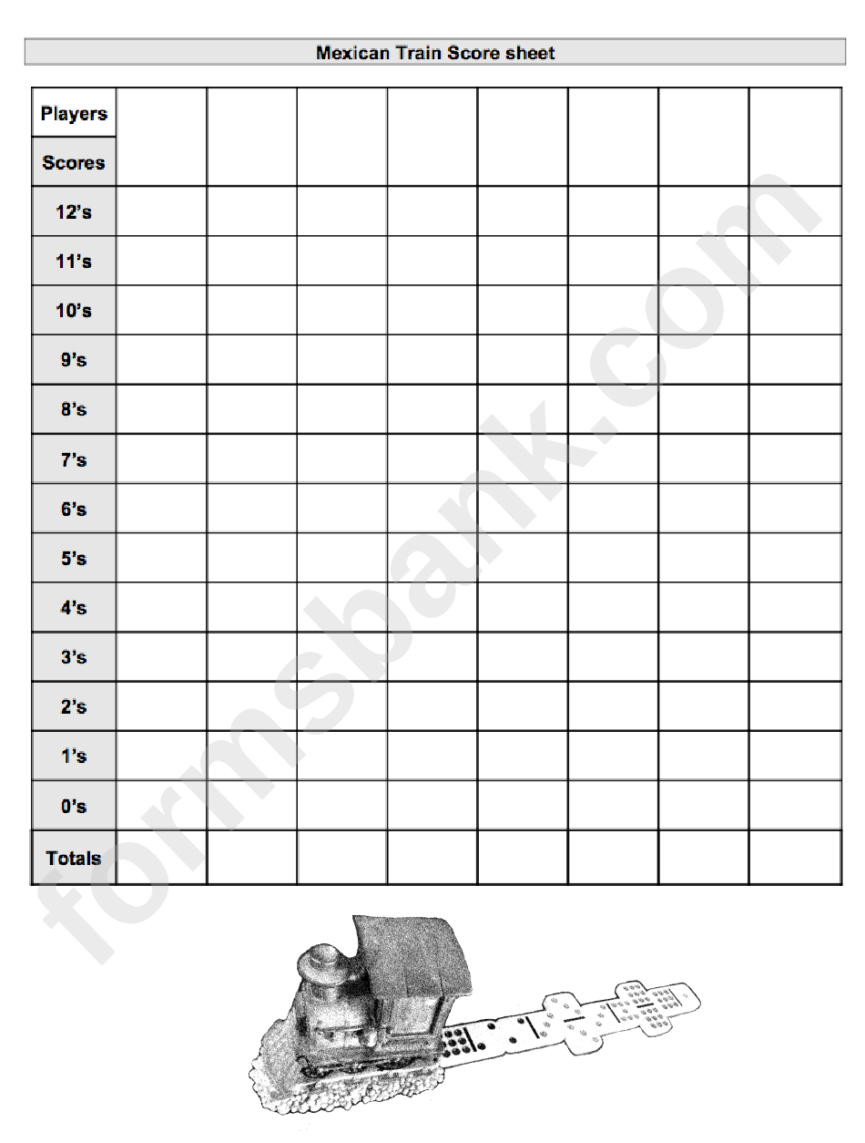 Mexican Train Score Sheet printable