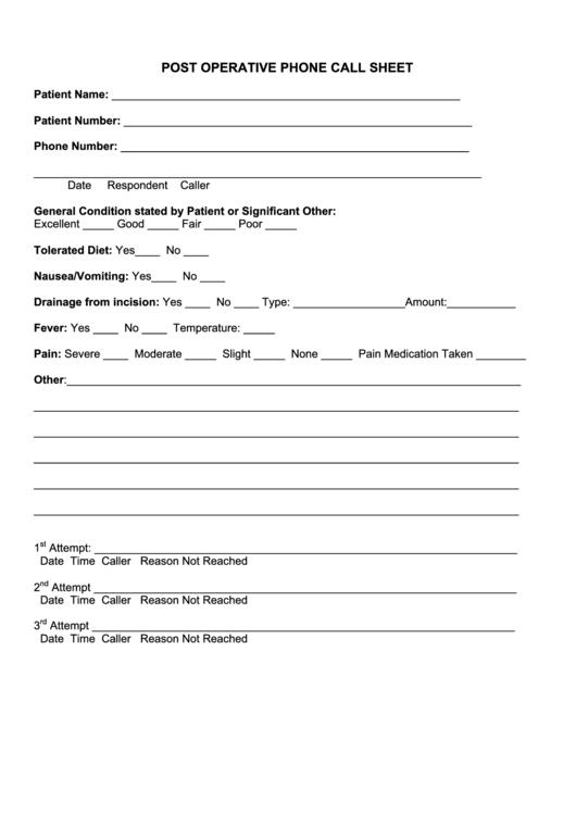 post operative phone call sheet printable pdf download