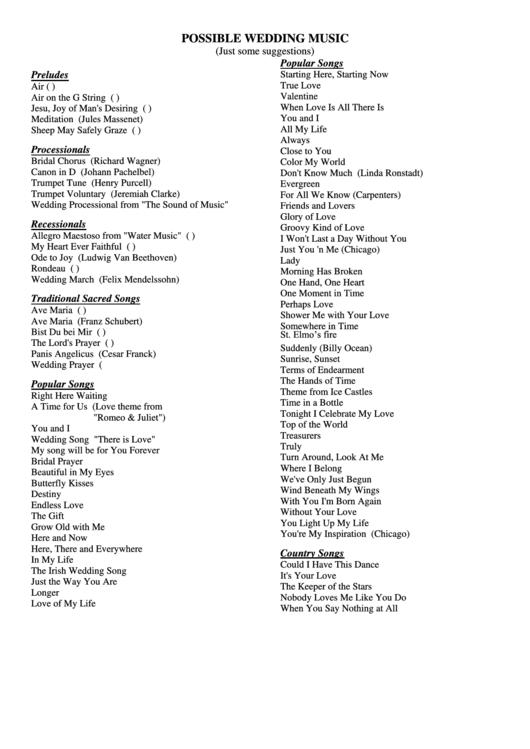 Wedding Music List