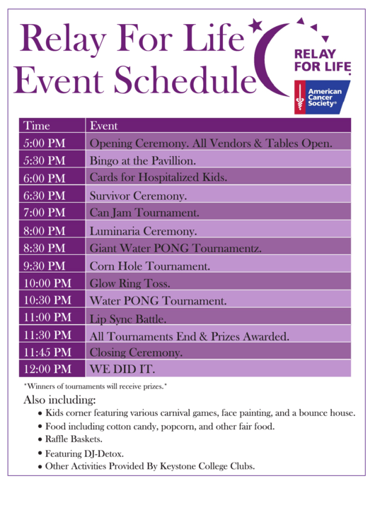 Relay For Life Event Schedule