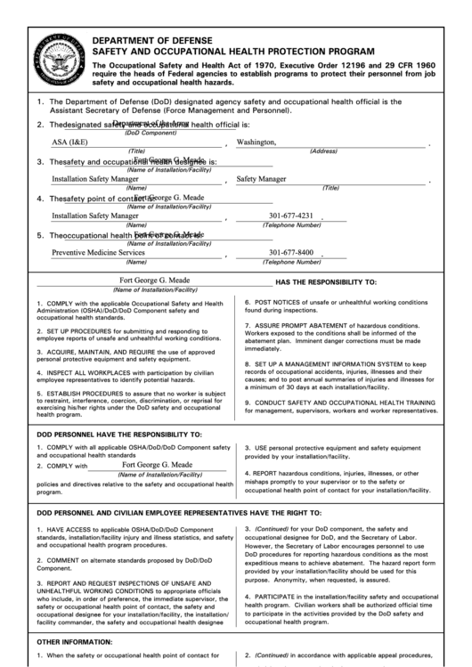 Fillable Dd Form 2272 - Department Of Defense Safety And Occupational Health Protection Program Printable pdf
