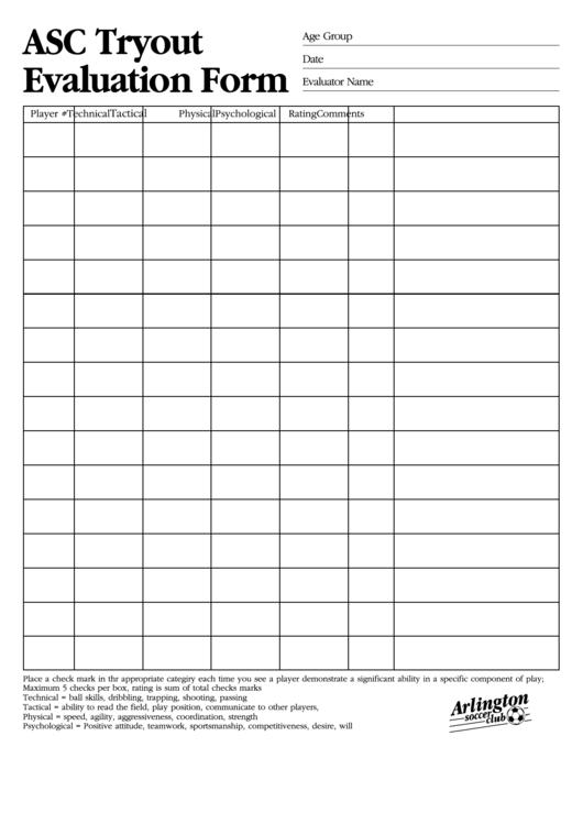 Tryout Evaluation Form - Arlington Soccer Club