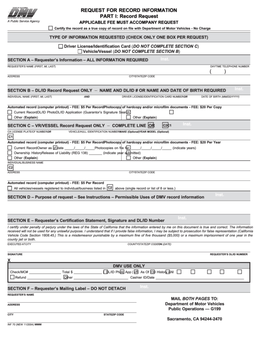 Fillable Dmv Request For Records - Reilly Newman Printable pdf
