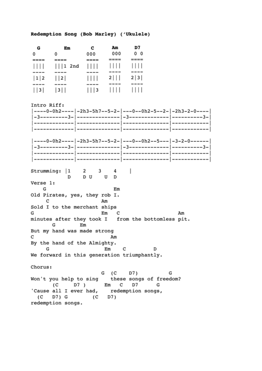 Contemporary Redemption Song Chords Piano Photos - Beginner Guitar ...