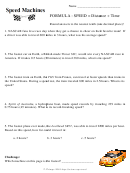 Speed And Time Worksheet
