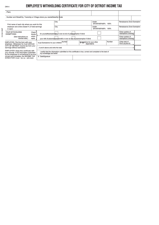 Form Dw-4 - Employee's Withholding Certificate For City Of Detroit ...