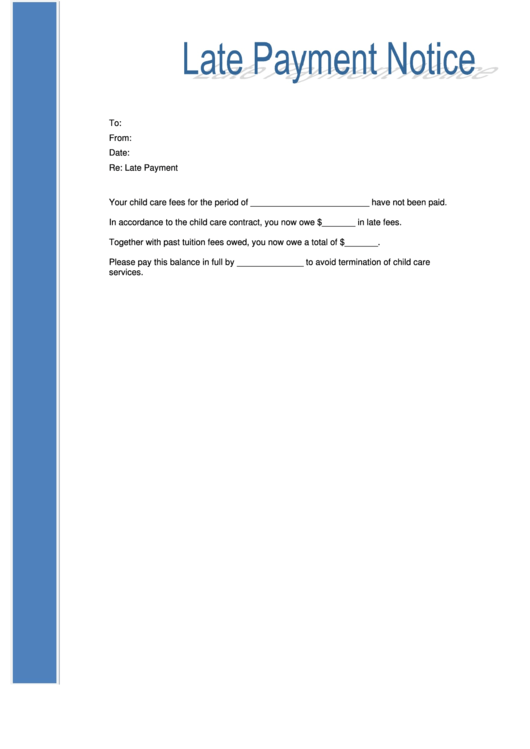 Late Payment Notice Letter Template