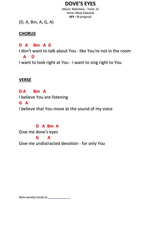 Dove\'s Eyes By Misty Edwards printable pdf download