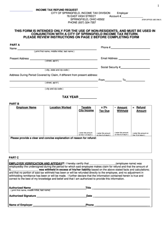Income Tax Refund Request Form - City Of Springfield, Ohio