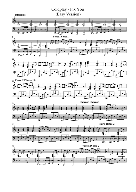 Fix You - Coldplay - Easy Version printable pdf download