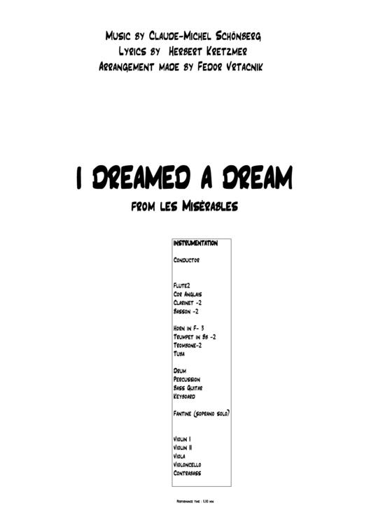 I Dreamed A Dream - Les Miserables Sheet Music printable pdf