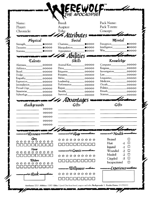 Werewolf The Apocalypse Character Sheet Printable Pdf