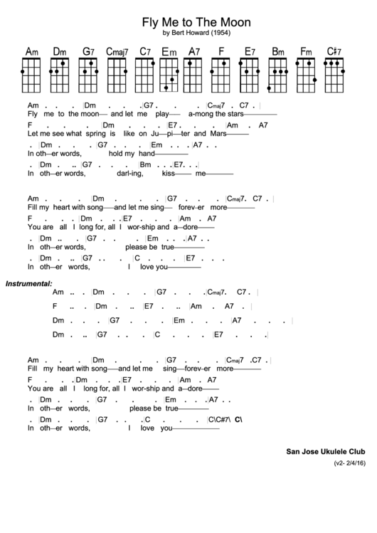 Modern Fly Me To The Moon Ukulele Chords Images Song Chords Images