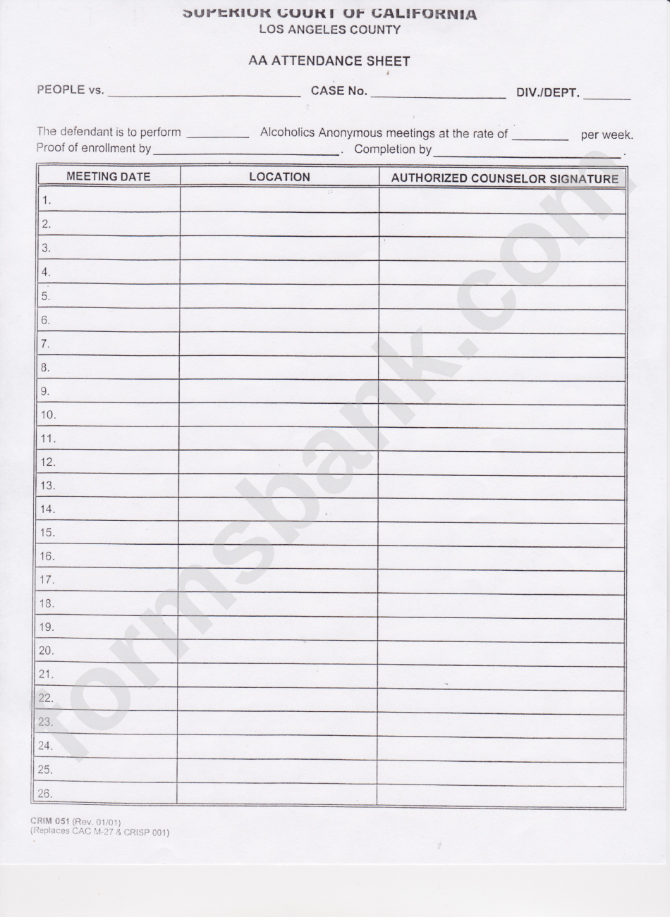 Aa Meeting Sign In Sheet For Court