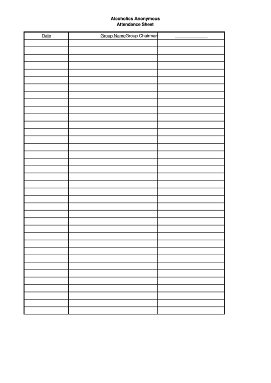 alcoholics anonymous attendance sheet template printable