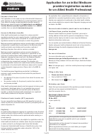 Application For An Initial Medicare Provider/ Registration Number For An Allied Health Professional