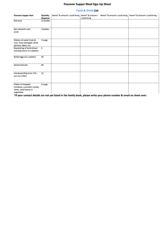 Passover Supper Meal Sign-up Sheet