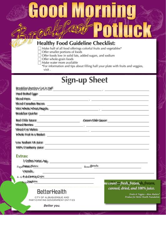 Breakfast Potluk Sign-up Sheet
