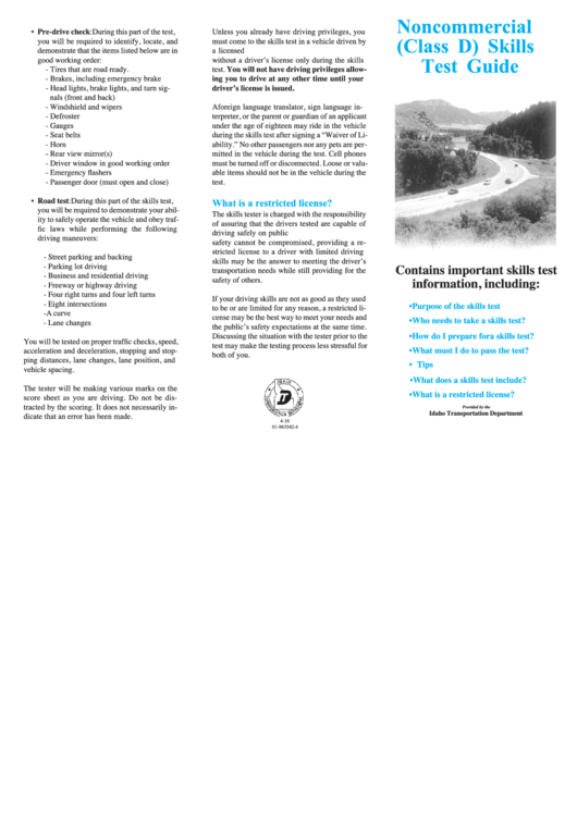Noncommercial (class D) Skills Test Guide (idaho Transportation Department)