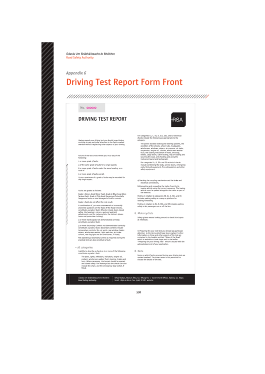 Driving Test Report Form