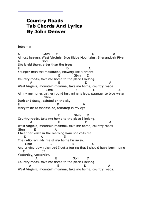 Country Roads - By John Denver printable pdf download