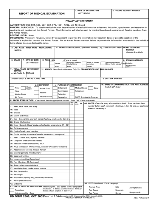 Fillable Dd Form 2808 - Report Of Medical Examination - 2005 Printable pdf