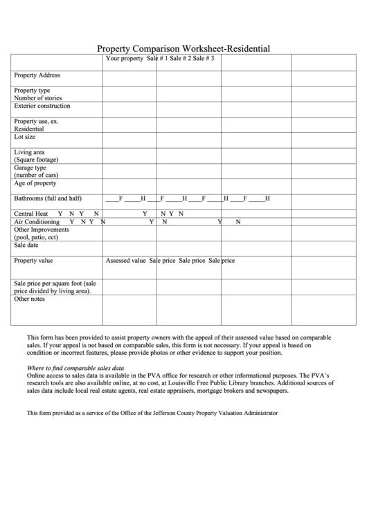 Property Comparison Worksheet - Residential