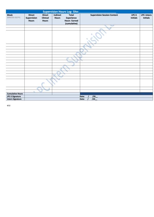 Supervision Hours Log Printable pdf