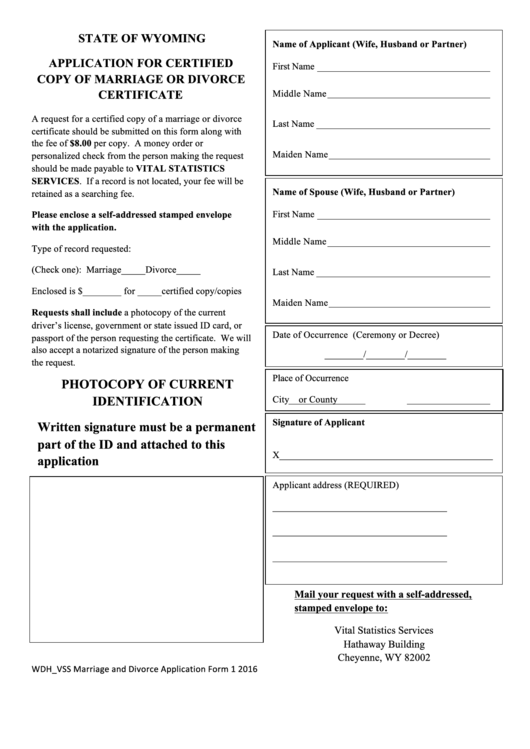 Application For Certified Copy Of Marriage Or Divorce Certificate