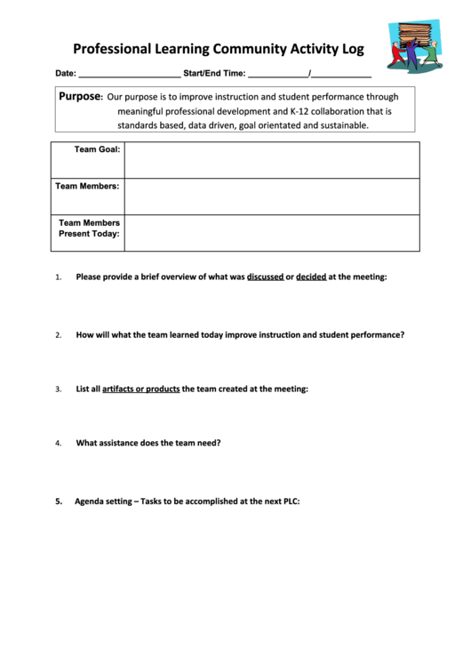 Professional Learning Team Activity Log
