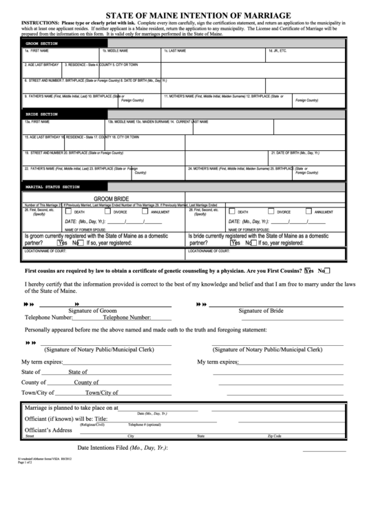 State Of Maine Intention Of Marriage printable pdf download