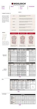 Woolrich Size Chart